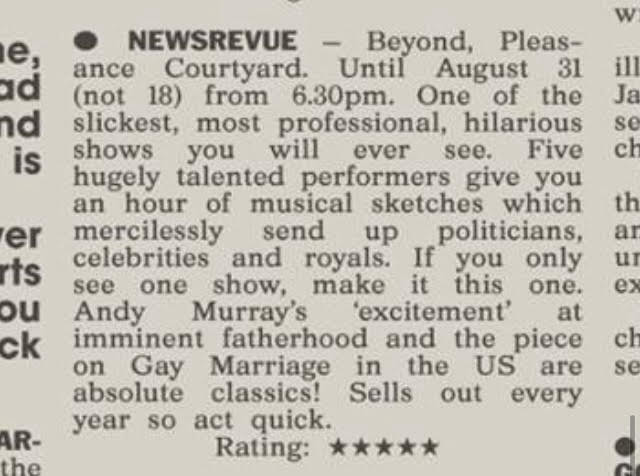 The Sun review of 'NewsRevue'