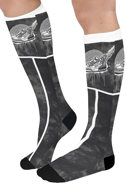 Footsteps Tie Dye Black Knee High Socks (Qty 1)