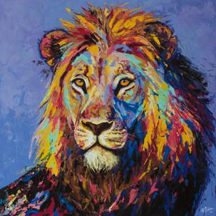 Lion on savannah (Sold)