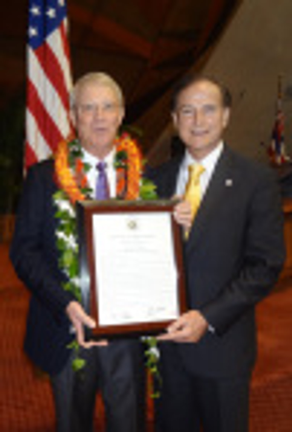Jim Lally and rep Ward with certificate
