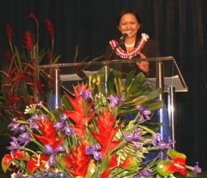 Lynn at Podium
