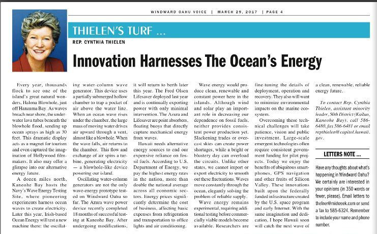 Innovation Harnesses The Ocean's Energy - By Cynthia thielen - Midweek _ March 29, 2017