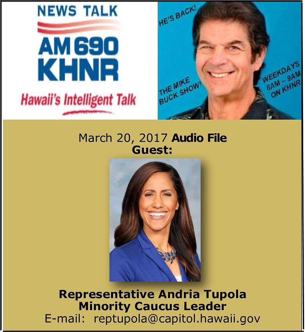 Feb. 13, 2017 MIKE BUCK with Rep. Andria Tupola