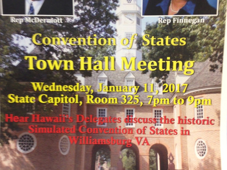 Convention of States Town Hall Meeting with Rep. McDermott Jan. 2017