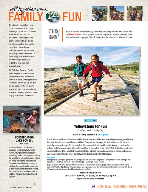 Travel Catalog family trip page