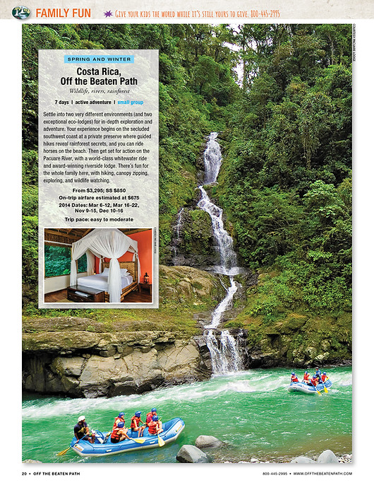 Travel Catalog layout - Costa Rica