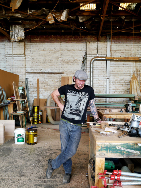 Michael Hayes. Furniture maker. Photo shoot for The Room Illuminated.