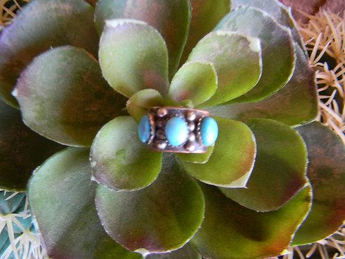 Dot Stripe Turquoise Ring