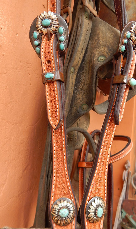 Turquoise Sunflower Headstall