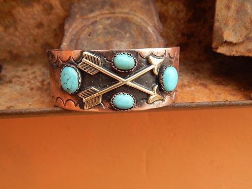 Turquoise Crossed Arrows Cuff Bracelet