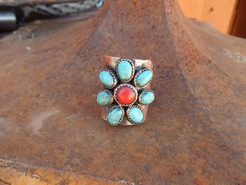Corral and Turquoise Posie Ring