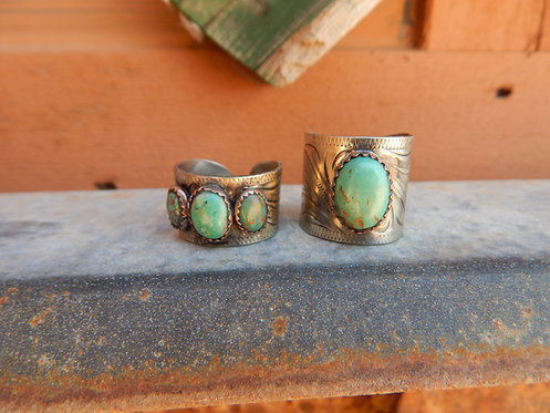 Engraved Band Turquoise Rings