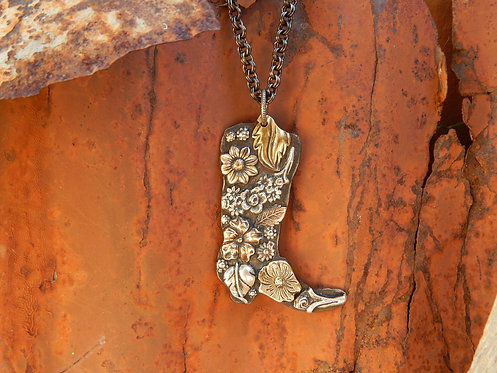 Floral Boot with Brand Necklace