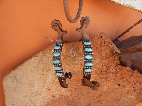 Long Oval Turquoise Ladies Spur with Chap Guard