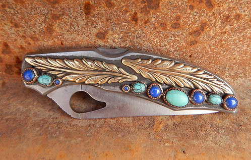 Extra Large Blue and Turquoise Feather Tool
