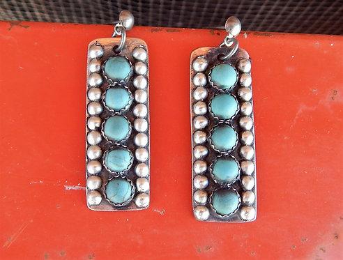 Turquoise Row Earrings