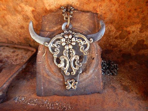 Ornate Floral Steel Skull Necklace