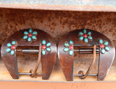 Turquoise and Corral Flower Back Cinch Buckle Pair