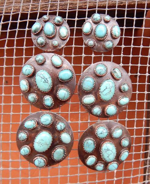 Rocked Out Turquoise Saddle Concho Set