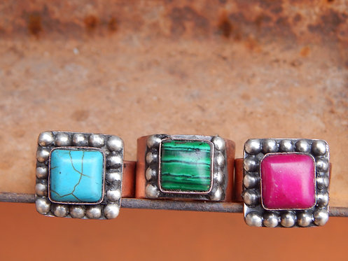 Simple Square Stone Rings