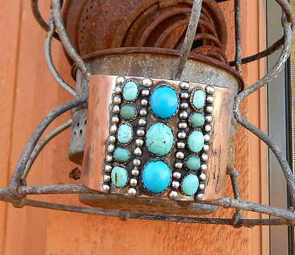 Wide Turquoise Stripe Cuff