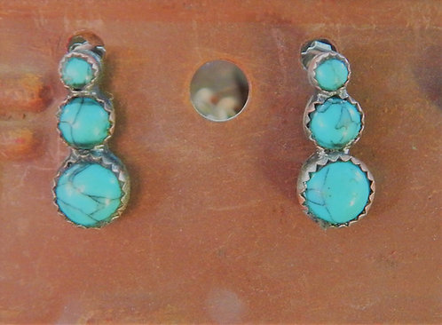 Graduated 3 Stone Turquoise Earrings