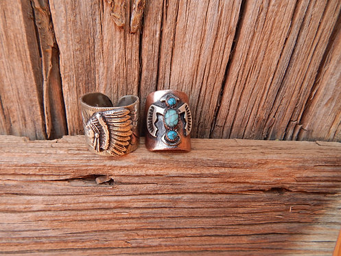 Engraved Chief and Thunderbird Rings