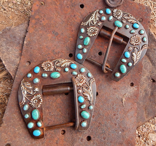 Turquoise Daisy Back Cinch Buckle Set