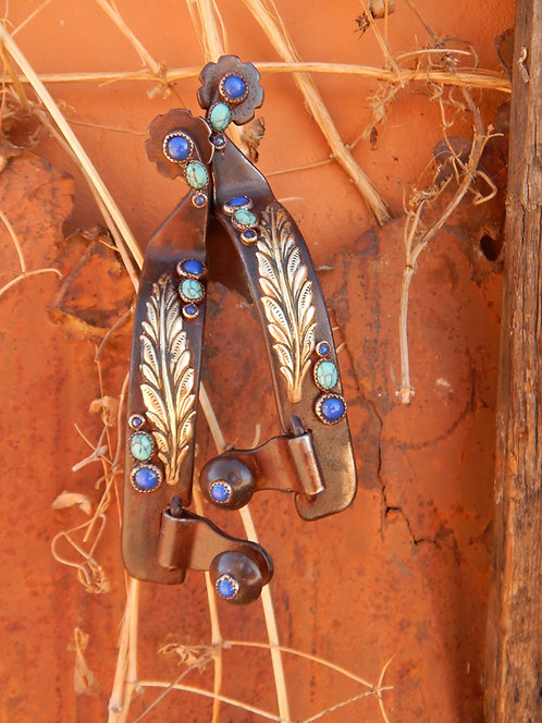 Blue and Turquoise Ladies Feather Spur