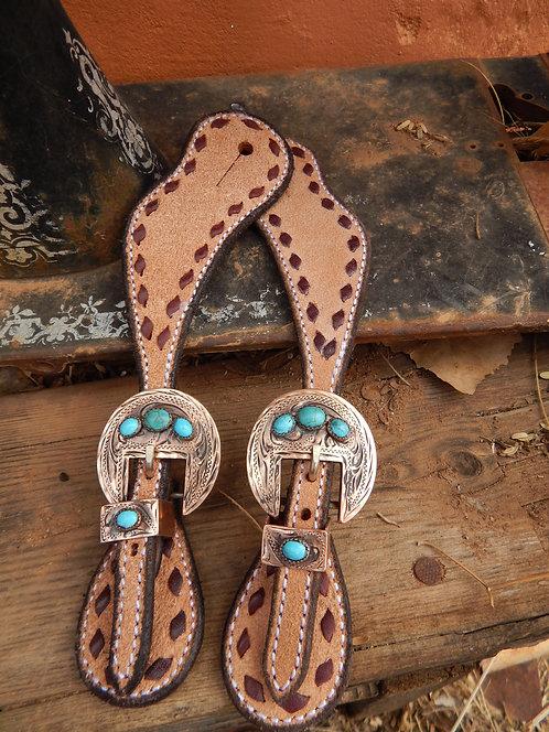 Engraved Copper Buckle Ladies Spur Strap
