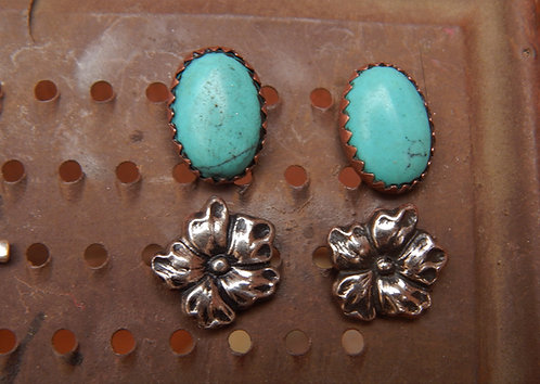 Large Turquoise Stud and Silver Flower Earrings