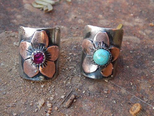 Copper Flower Rings