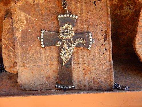 Rustic Steel Daisy Cross Necklace