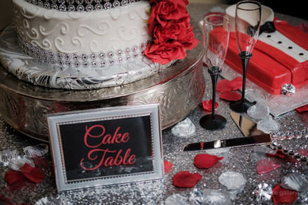 red and silver wedding cake table
