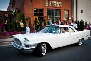 wedding leave in classic car