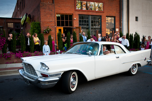 wedding leave in classic car