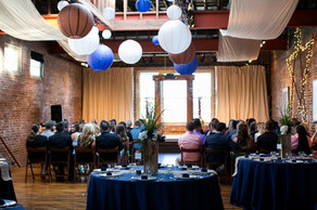blue and beige wedding with drapery