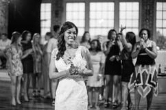 single ladies await bouquet toss