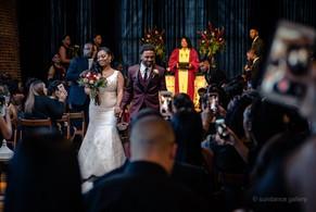 couple leaving ceremony