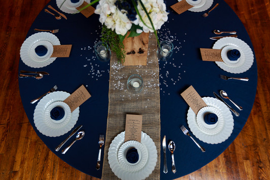 Navy and white with burlap table