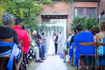autumn wedding in courtyard