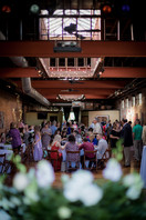 large wedding reception with head table