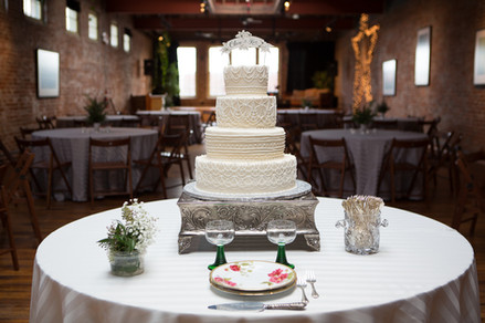 wedding cake in center of the room