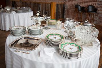 vintage plates for rehearsal dinner