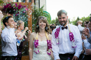 couple walking through bubbles
