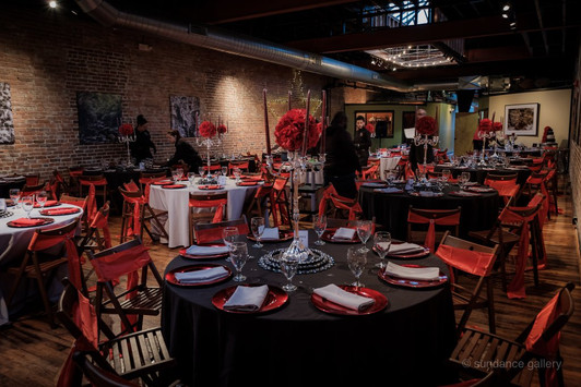 black and red wedding setting