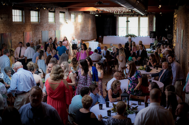 large wedding reception in the summer