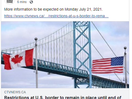 Border Restrictions Remains for July; Additional Plans To-Be-Announced