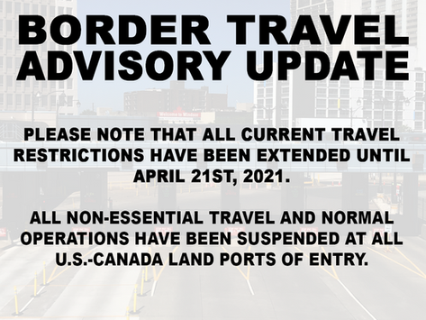 Border Travel Restrictions Extended