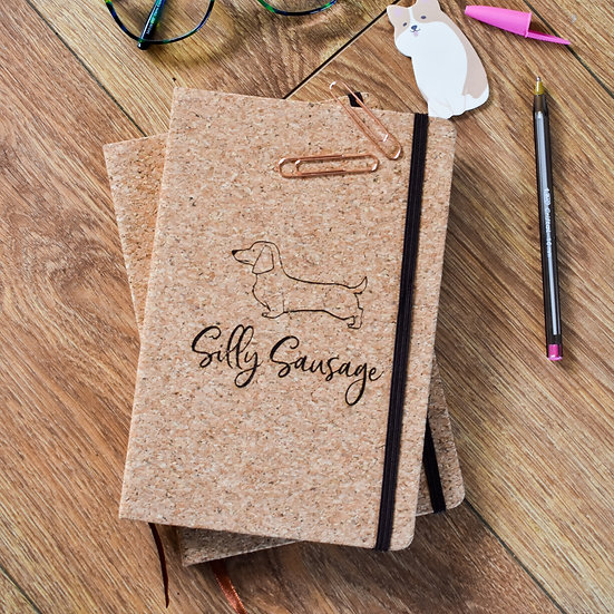 'Silly Sausage' Cork Notebook